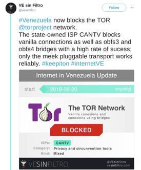 The State of Internet Censorship in Venezuela